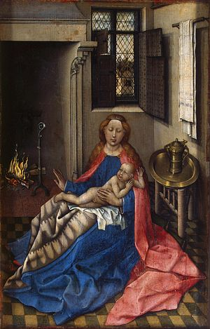 Mary with Jesus by a fireplace
