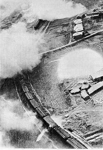 Battle of Pusan Perimeter - US aircraft attack a North Korean train with rockets and napalm, 1950.