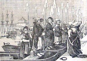 "Rower woman - Humorous drawing of rower women in Stockholm in their typical ""weather hoods"", preparing to battle the employed ladies from Dalarna and their fancy paddle-wheeled boats, published in 1855."