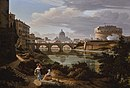 Rome, a view of the river Tiber looking south with the Castel Sant'Angelo and Saint Peter's Basilica beyond by Rudolf Wiegmann 1834.jpg