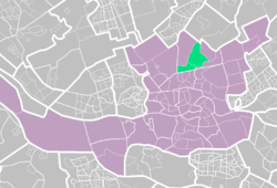 Highlighted position of Hillegersberg in a map of Rotterdam