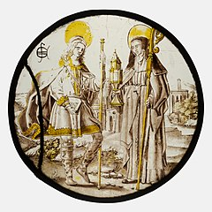 Roundel with Saint Jodocus and St. Clare of Assisi