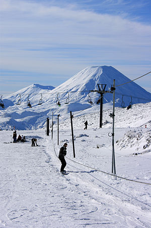 Whakapapa skifield - Hut Flat Rope Tow (removed after 2014 season) with Mount Ngauruhoe behind