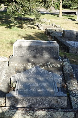 George Ruddenklau - The Ruddenklau family grave in Barbadoes Street Cemetery, with the headstone toppled in the 2011 Christchurch earthquake