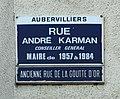 Rue André Karman - Aubervilliers - plaque.JPG