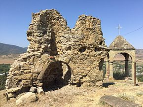 Ruins of old Armenian church St. Gevorg in Shaumiani.jpg
