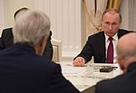 Russian President Putin Listens as Secretary Speaks During Their Bilateral Meeting Focused on Syria and Ukraine in Moscow (25916792512).jpg