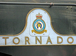 LNER Peppercorn Class A1 60163 Tornado - Tornado right hand nameplate showing the badge of RAF Cottesmore, Rutland