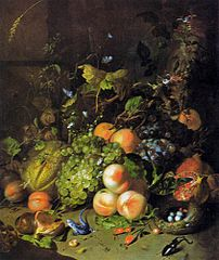 Fruit, a nest, a lizard and insects in a wood