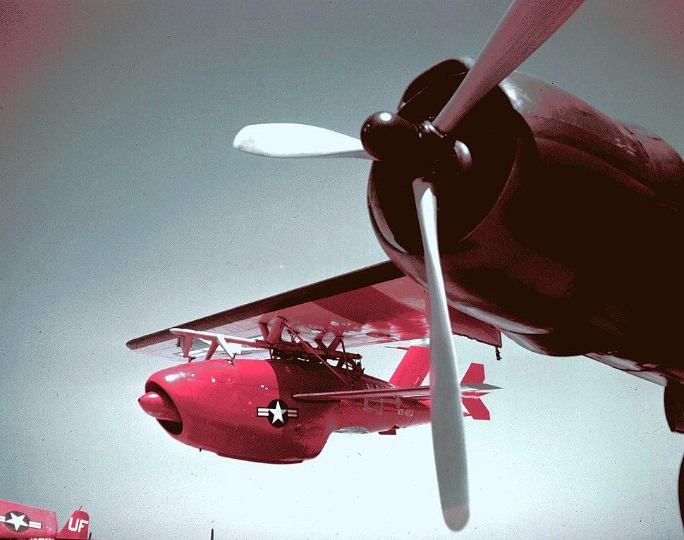 Ryan KDA Firebee under wing of Douglas JD-1 Invader (color)