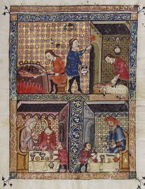 Rylands Haggadah, The Preparation for the Seder (above) and The Celebration of the Seder (below)