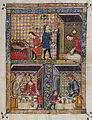 Rylands Haggadah, The Preparation for the Seder (above) and The Celebration of the Seder (below).jpg