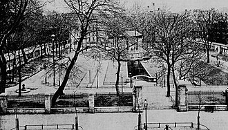 """James J. Walker Park - The park in 1899, when it was called """"St. John's Park"""", looking east from Hudson Street"""