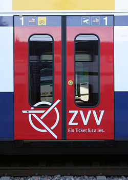 ZVV logo on the door of an SBB CFF FFS RABe 514.