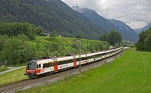 Glarus Süd - The Glarner Sprinter train between Nidfurn and Leuggelbach villages