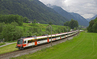 Glarus Süd - The Glarner Sprinter train between Nidfurn and Leuggelbach villages