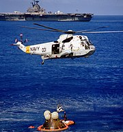 SH-3 Sea King of HC-1 recovers Apollo 17 astronauts off USS Ticonderoga (CVS-14), 19 December 1972 (Ap17-S72-55974)