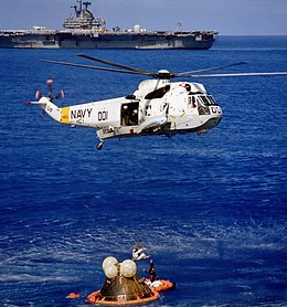 SH-3 Sea King of HC-1 recovers Apollo 17 astronauts off USS Ticonderoga (CVS-14), 19 December 1972 (Ap17-S72-55974).jpg