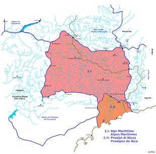 Carta delle Alpi Marittime all'interno della sezione Alpi Marittime e Prealpi di Nizza.