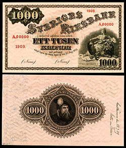 1909 specimen (with approval on the reverse) of a Sveriges Riksbank 1,000 kronor note.