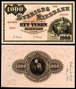 1909 specimen (with approval on the reverse) of a Sveriges Riksbank 1,000-krona note.