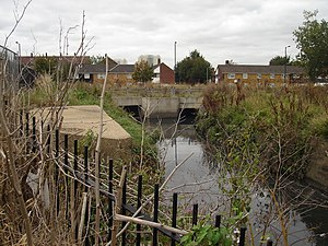 Salmons Brook - Saddlers Millstream (right) merges with Salmons Brook below Montagu Road, Edmonton