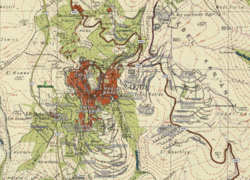 Carte des rues de Safed 2020 superposée sur la carte Survey of Palestine de 1942.png