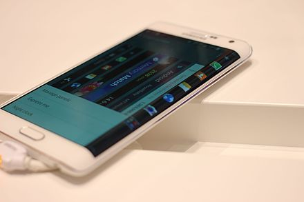 Samsung's Youm concept device was used as a basis for the Galaxy Note Edge. Samsung Galaxy Note Edge (15224474846).jpg