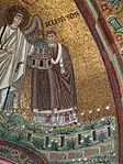 San vitale, ravenna, int., presbiterio, mosaici del catino con redentoretra arcangeli, s. vitale ed ecclesio, 03 vescovo ecclesio.JPG