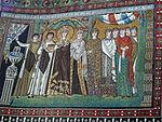San vitale, ravenna, int., presbiterio, mosaici di teodora e la sua corte 02.JPG