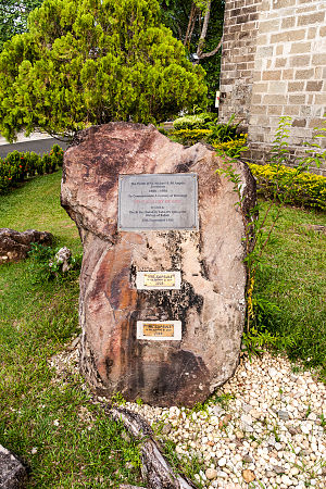 St. Michael's and All Angels Church, Sandakan - Memorial stone for the 100th anniversary of the parish. In the bottom half, there are two time capsules.