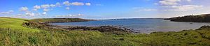 3rd Spanish Armada - Panoramic of Sandy Haven beach near Milford Haven - a few Spanish ships ended up around here