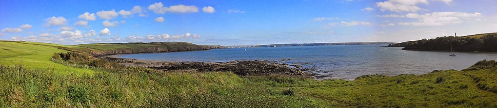 Panoramic of Sandy Haven beach near Milford Haven, looking out to the Cleddau estuary