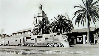 San Diegan (train) - Santa Fe San Diegan at  the San Diego depot (1945 postcard)