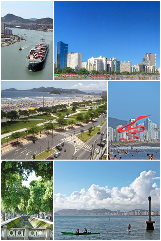 Santos, São Paulo - From top, clockwise: cargo ship at the entrance of the Port of Santos canal; buildings on the edge of the city; Monument of the 100 Years of Japanese Immigration in the Roberto Mário Santini Park; Marco da Ponta da Praia and view of the Bay of Santos; Canal 3 of the city drainage system and front garden of the beach.