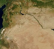 Satellite image of Syria (border lines added).