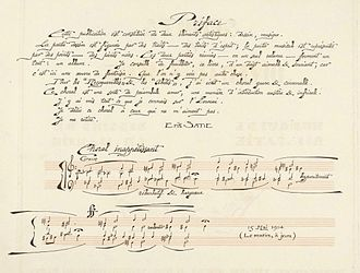 "Chorale - ""Préface"" (preface) and ""Choral inappétissant"" (unsavoury chorale), first page of Satie's autograph of Sports et divertissements (dated 15 May 1914)"