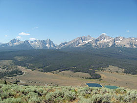 A photo of the Sawtooth Range taken from a ridge southeast of Stanley