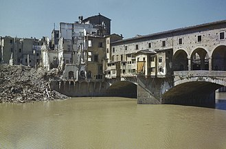 Ponte Vecchio - Damage shown shortly after liberation in August 1944 during World War II