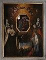 Scuola fiorentina, madonna col bambino adorata dai ss. caterina da siena, pietro martire, chiara e forse zanobi, con veduta di firenze, xvii secolo 02.jpg