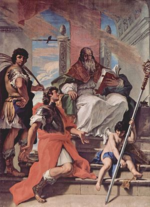 Proculus of Verona - Saints Firmus and Rusticus of Verona with an angel, by Sebastiano Ricci.  Saint Proculus is seated.