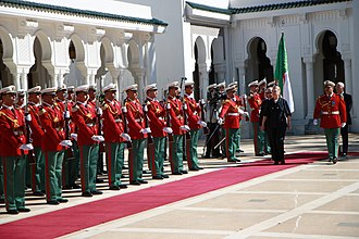 Guard of honour - The Algerian Republican Guard welcome the U.S. Secretary of State Hillary Clinton. The Guard is a ceremonial corps of the Algerian Army.