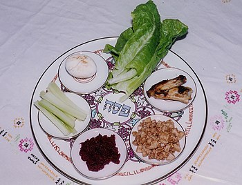 Traditional arrangement of symbolic foods on a...