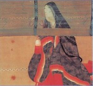 Sudare - The writer Sei Shōnagon standing behind a misu
