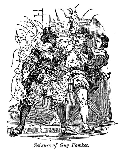 "The seizure of Guy Fawkes as depicted in the book ""A Pictorial History of England"" (1854). Samuel G. Goodrich (1793–1860). Wikimedia Commons"