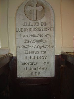 Louis Désiré Maigret - Memorial stone at Maigret's burial crypt in the Cathedral of Our Lady of Peace, Honolulu.