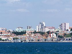 Setúbal downtown with its port.