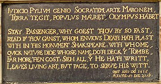 "Spelling of Shakespeare's name - The memorial plaque on Shakespeare's tomb in the Church of the Holy Trinity, Stratford-upon-Avon. His name is spelled ""Shakspeare"". Next to it, the inscription on the grave of his widow Anne Hathaway calls her the ""wife of William Shakespeare""."