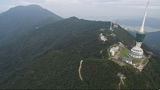 Wutong Mountain - Wutong Mountain and Shenzhen TV tower seen from the air