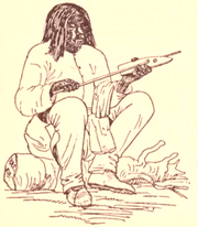 A Shoshone man using a shaft straightener in traditional arrow construction.
